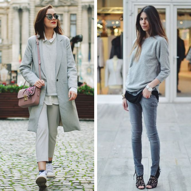 look gris con nota de color
