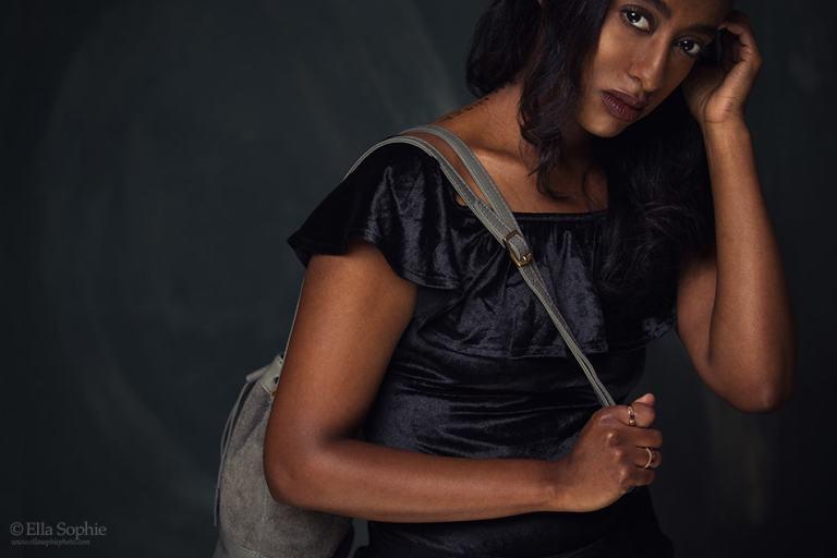 Ella Sophie, Oakland photographer ad image for handbag designer Kalu.