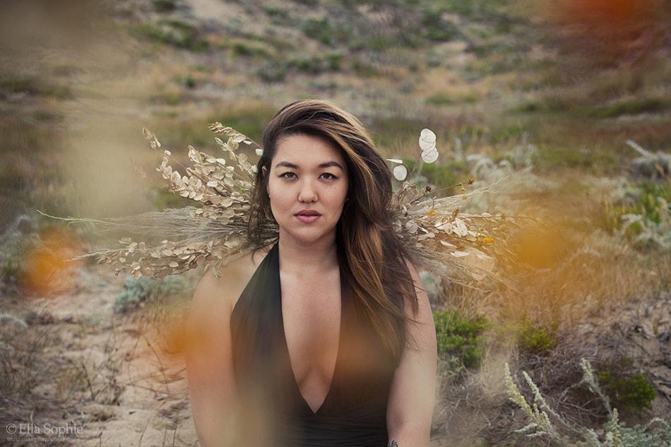 Feminist beauty portrait photography by San Francisco Photographer Ella Sophie of Angie Hilem in dessert dunes