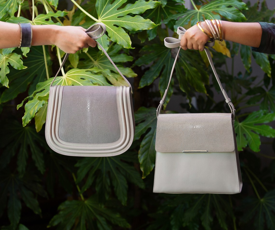 Leather and shagreen bags. Handbag photography for Vivo by Oakland Photographer Ella Sophie