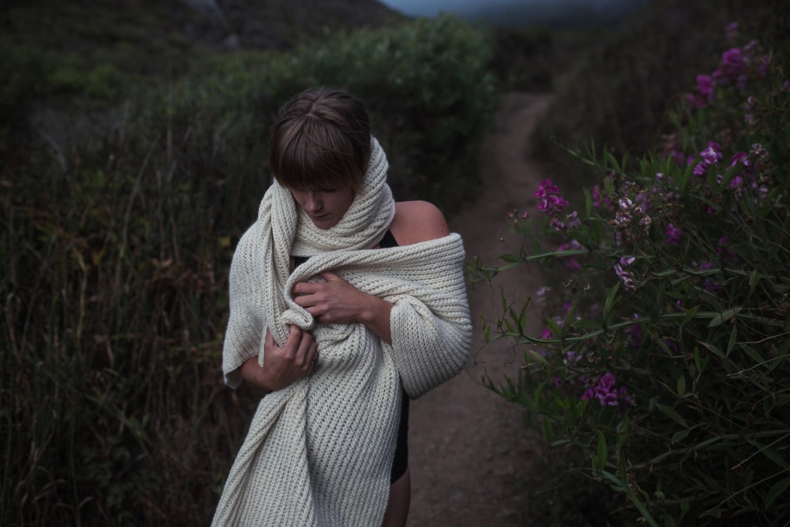 wild and moody lifestyle photography, by San Francisco photographer Ella Sophie. Model Vera Vinot wears knitwear.