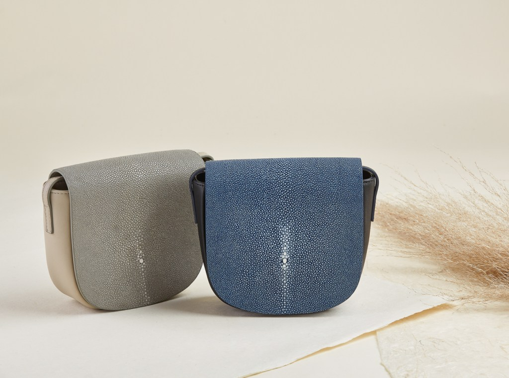 Leather and shagreen bags with earth tone and natural elements