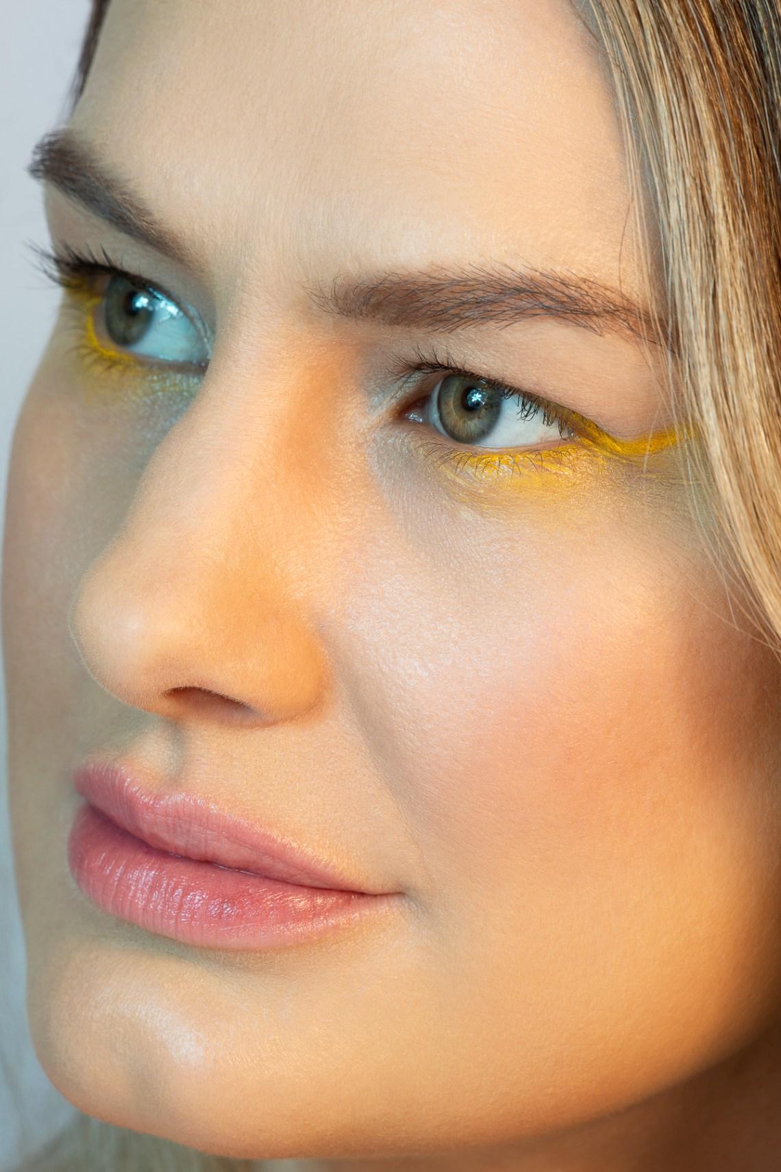 San Francisco beauty photographer Ella Sophie, beauty portrait of blond model with yellow eye makeup