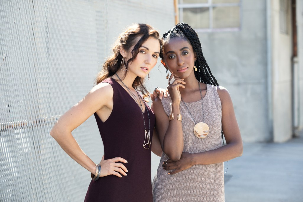 two models posing in Oakland for Elina Peduzzi Jewelry lookbook. Shot by commercial women photographer Ella Sophie