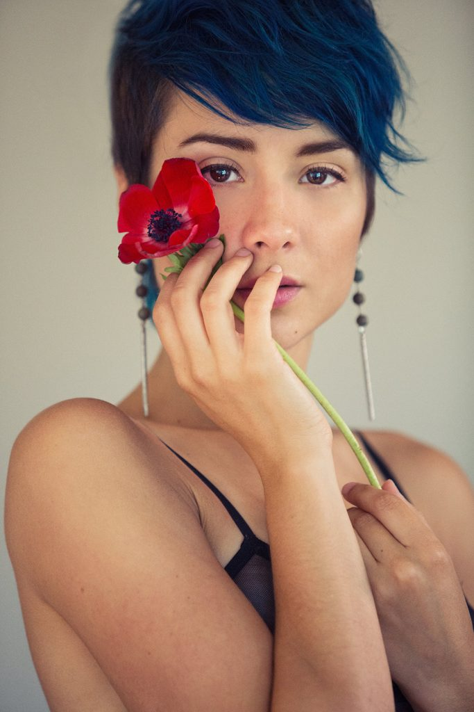 Close up photo in dreamy, flowery boudoir personal portrait session in Oakland photography studio by Ella Sophie.