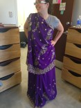 Sanjee let me try on a sari!!! It made me feel like a pretty purple princess.