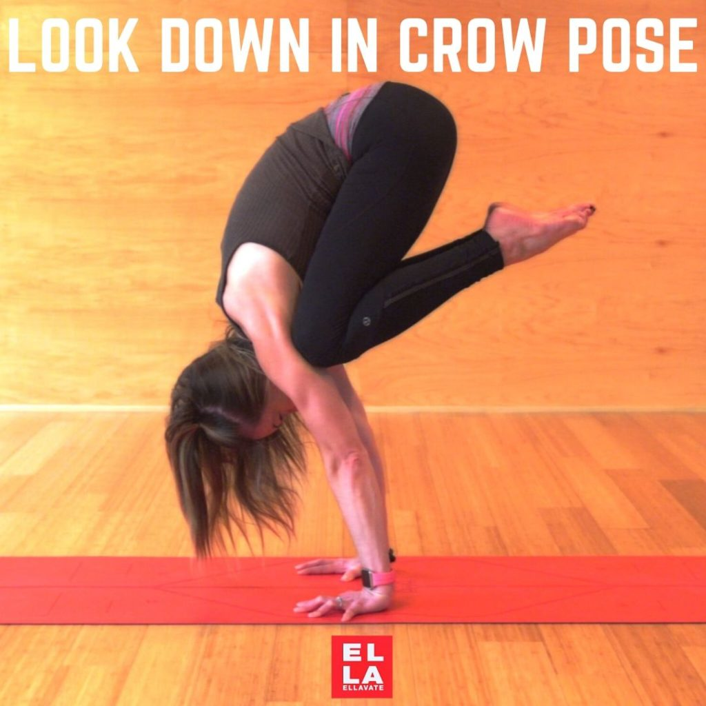 Where do you look in CROW Pose?