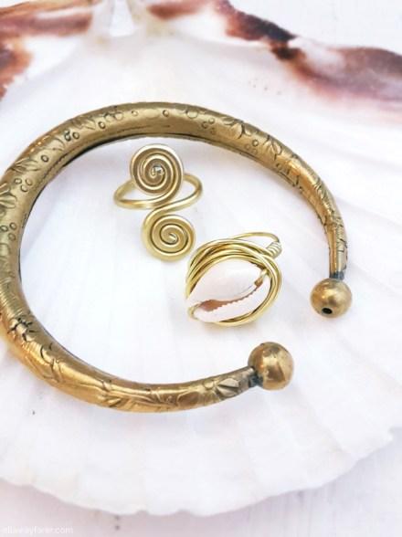 Kauri Ring mit Muschel ganz leicht selbermachen   DIY