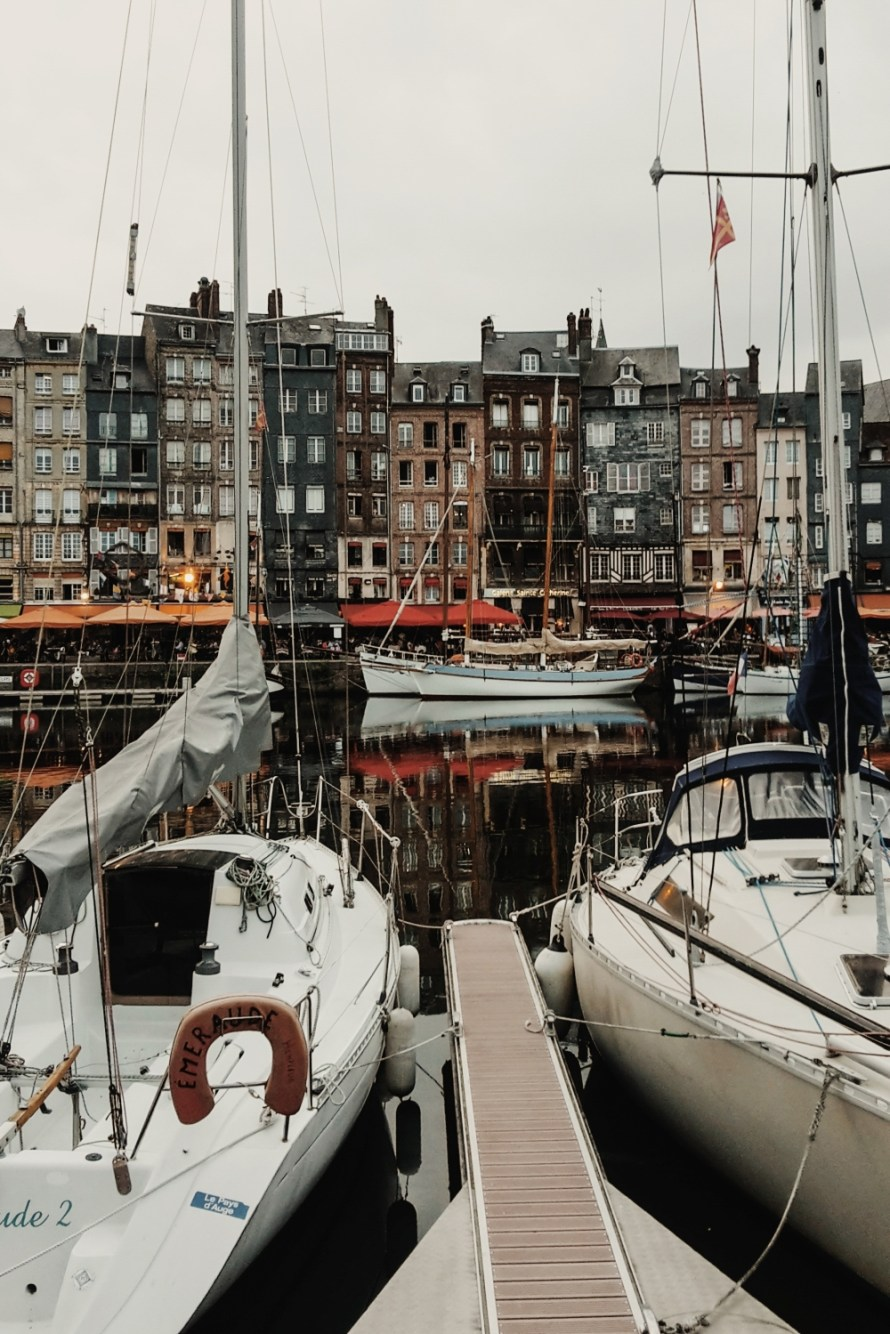 Beautiful architecture at the harbour of Honfleur