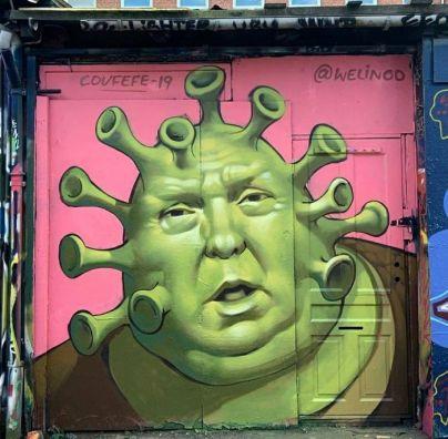 graffiti del coronavirus en Copenhagen Trump