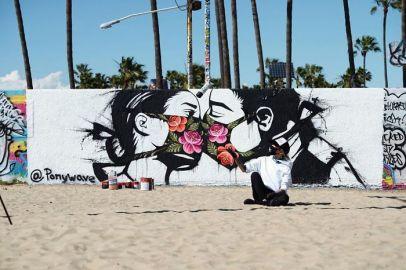 graffiti del coronavirus en los angeles