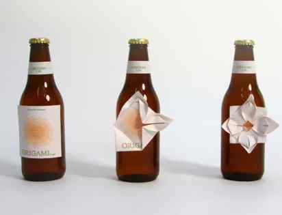packaging creativo de productos de cervezas estilo origami