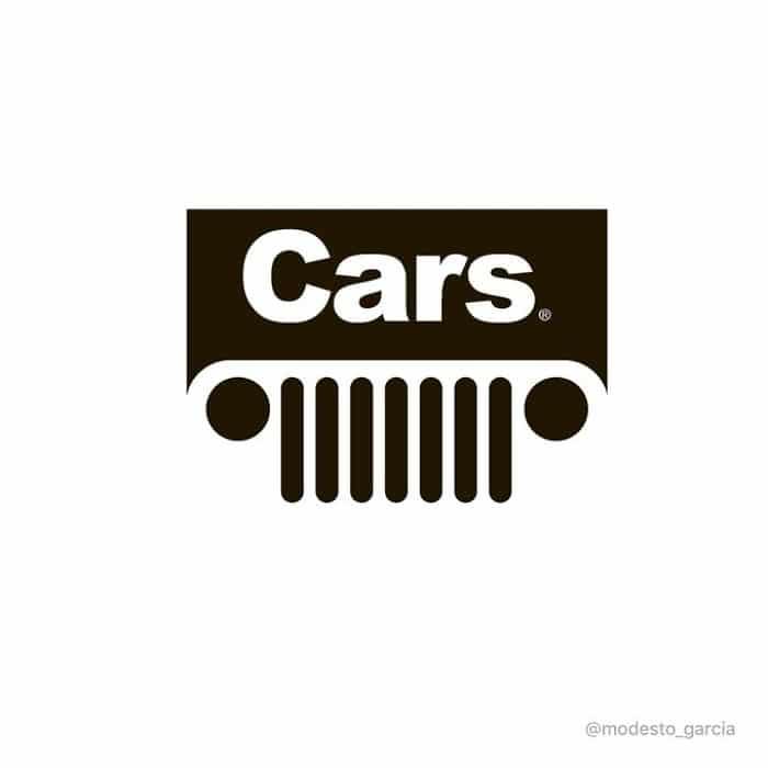película Cars representada por logo de Jeep