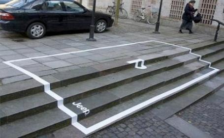 anuncio de Jeep con aparcamiento sobre escaleras