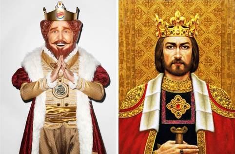 Logos inspirados en personas reales Rey de Burger King y foto del rey de Lituania
