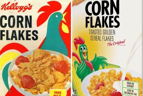 Evolución de las mascotas corporativas Corn Flakes de Kellogg's