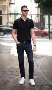 quần jean nam đen mặc với áo gì