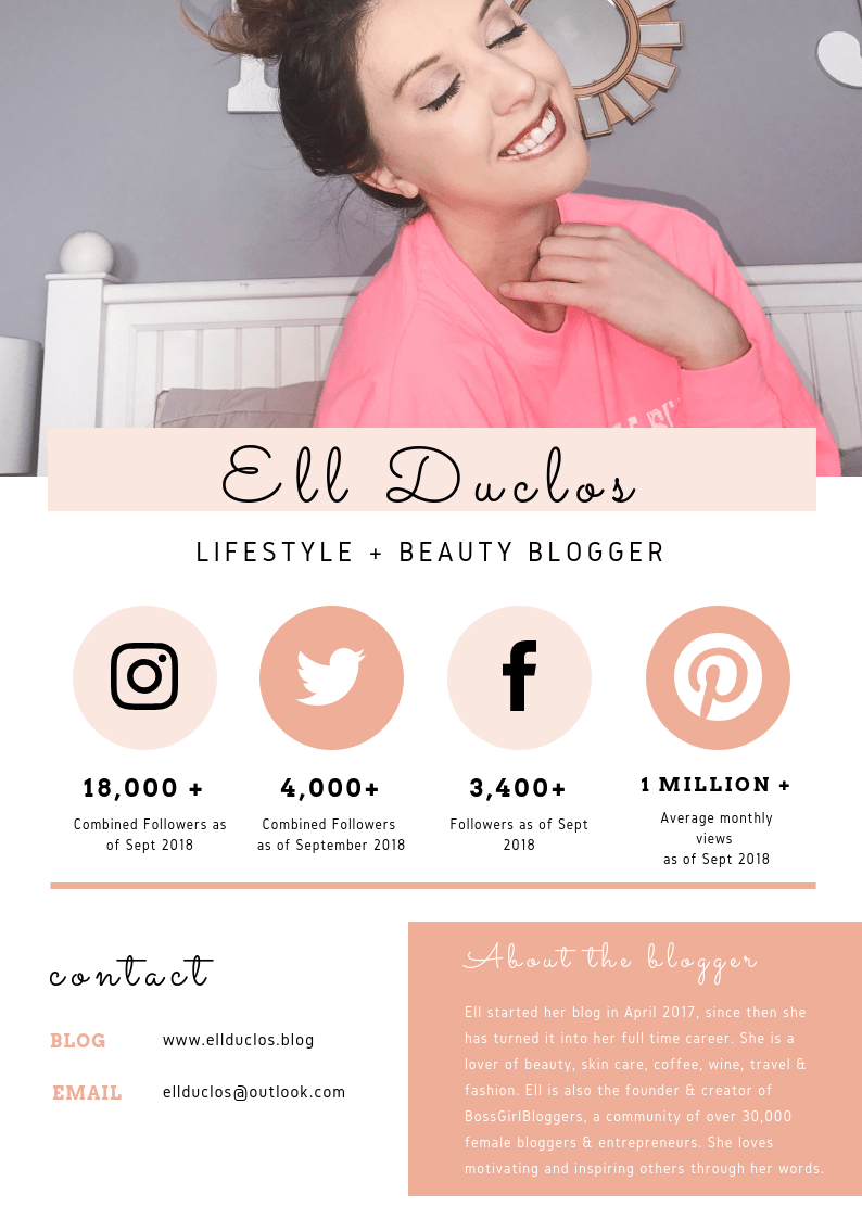 Ell Duclos Media Kit for Brands. Contact Ell Duclos