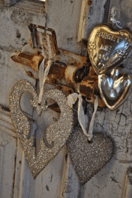 old door with glitter hearts on lock