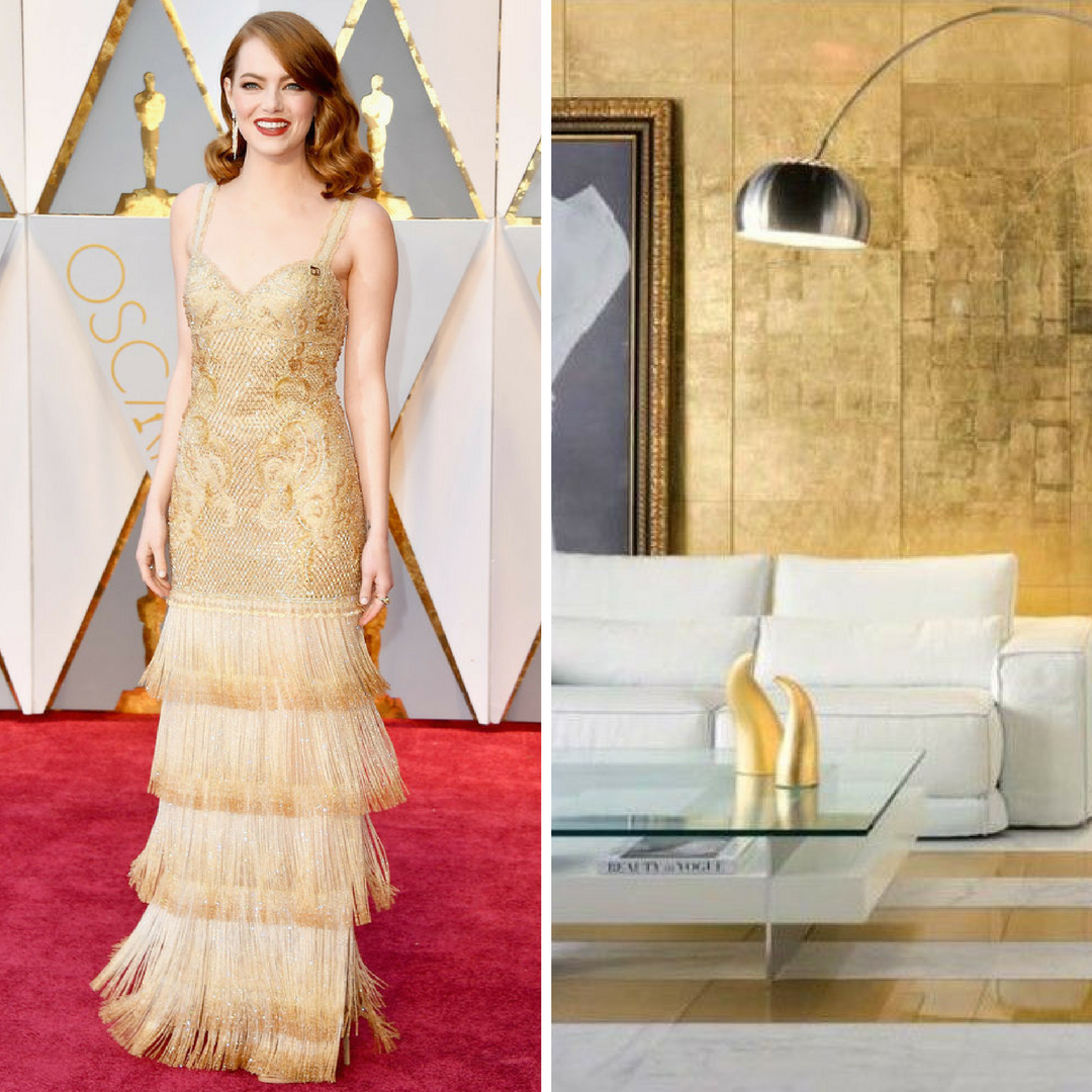 red carpet fashion inspiration to room interpretation by Elle C. Wolfe interiors