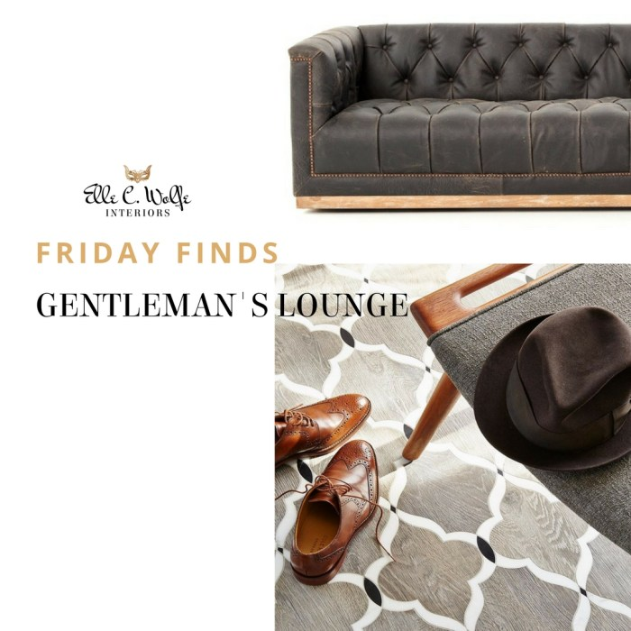 Elle C Wolfe Interiors photo collage with masculine distressed leather chesterfield sofa with Walker Zanger wood and marble tile