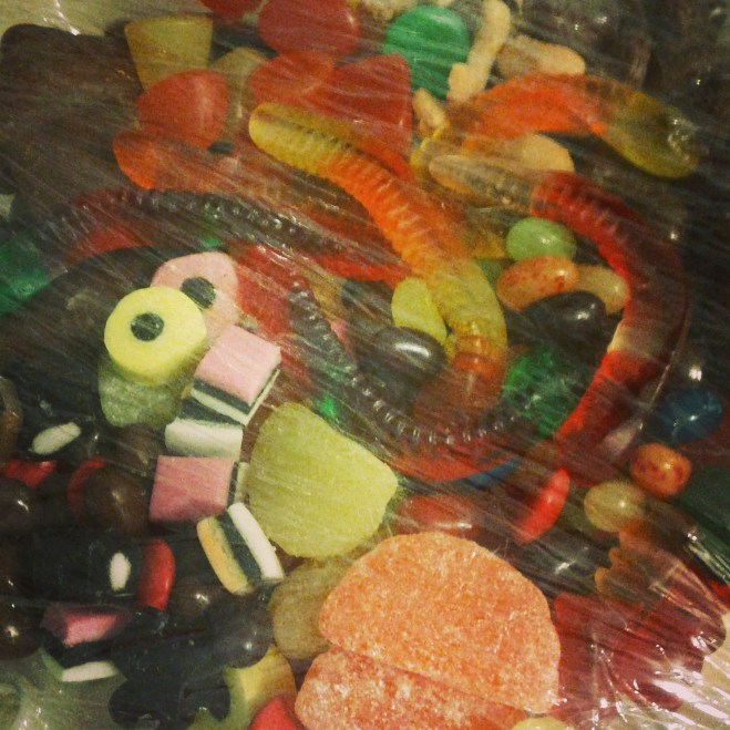 Mmmm a dish of candy – wrapped in plastic. Photo time!