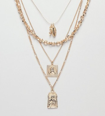 ASOS Design, Multirow Necklace With Vintage Style St.Christopher And Religious Icon Charms, In Gold. £15.00