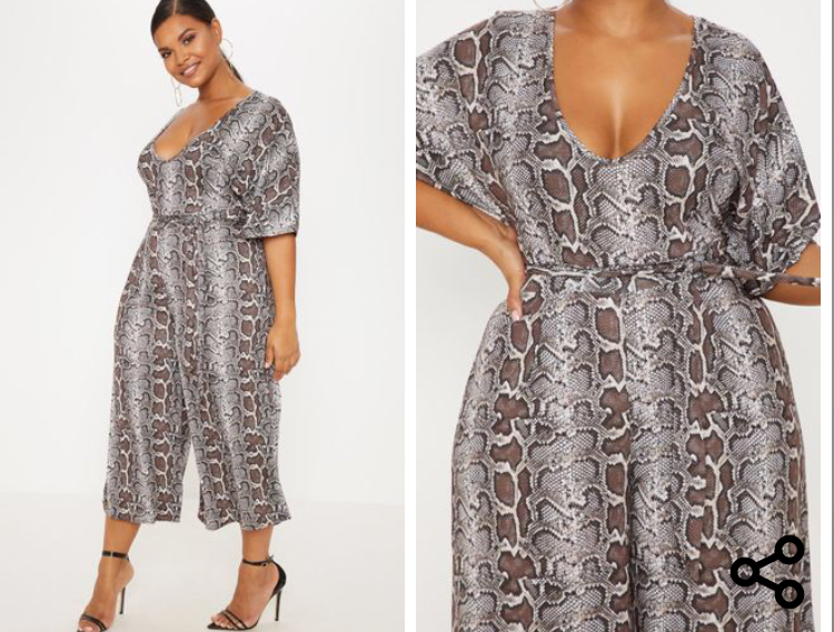 Plus Taupe Snake Print Culotte Playsuit. Sizes UK 16 - 26. £25.00. https://www.prettylittlething.com/plus-taupe-snake-print-culotte-jumpsuit.html