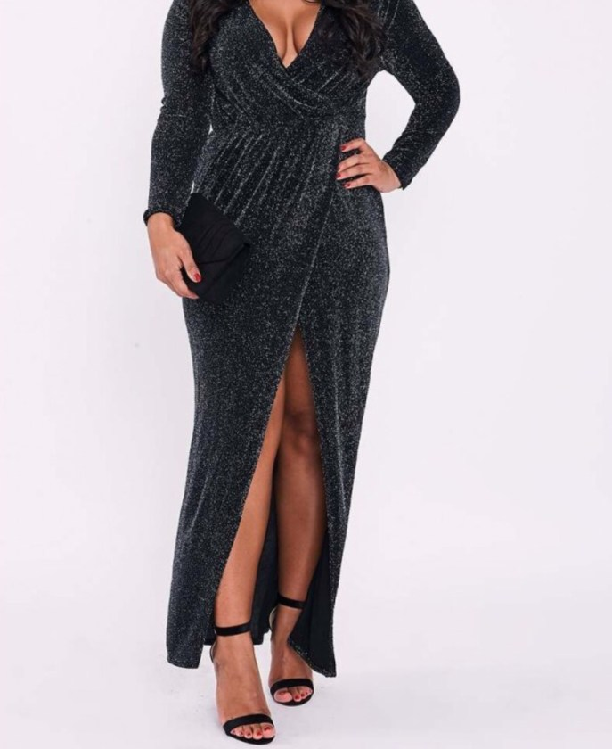 Curve, Binky Lurex Wrap Maxi Dress. Sizes UK 16 - 28. £27.99