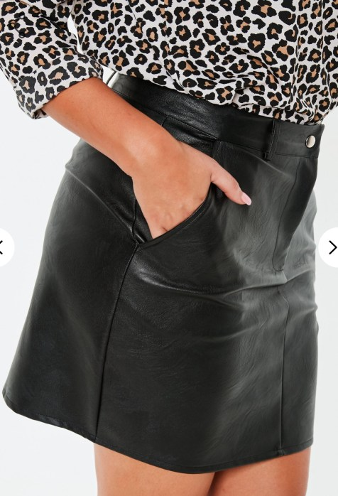 Plus Size, Black Faux Leather Mini Skirt. Sizes UK 16 - 24. £20.00
