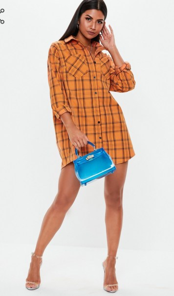 Orange Oversized Checked Shirt Dress. Sizes UK 4 - 16. £25.00. https://www.missguided.co.uk/orange-check-oversized-shirt-dress-10127241