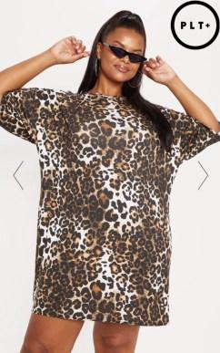 Plus, Tan Leopard T-Shirt Dress. Sizes 16 - 26. £12.00. https://www.prettylittlething.com/plus-tan-leopard-t-shirt-dress.html