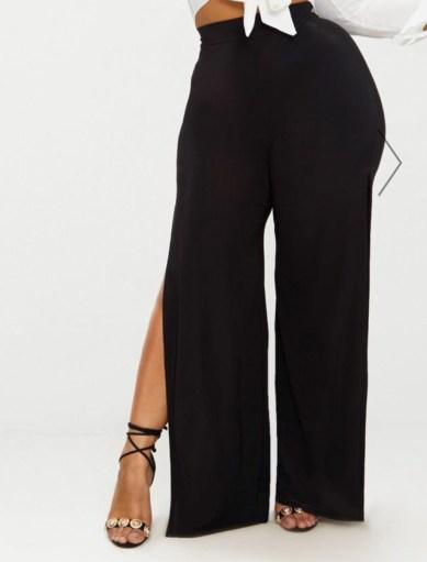 Plus, Black Wide Leg Slinky Trousers. Sizes UK 16 - 26. £15.00. https://www.prettylittlething.com/plus-black-wide-leg-slinky-trousers.html