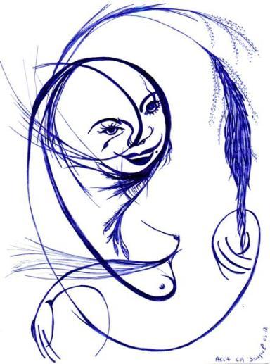 femme plume / papier stylo - 03 2008