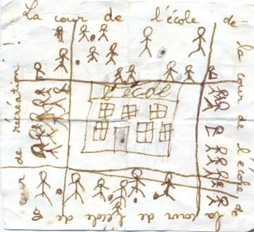 récréation / dessin de Sabine, elle était en CP ou CE1 ?