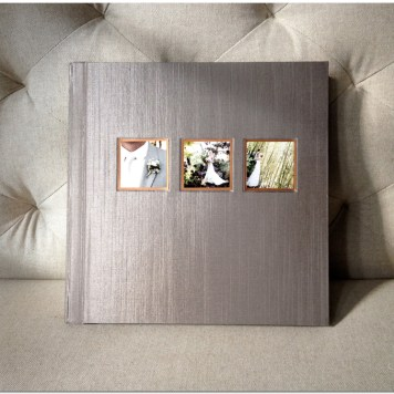 10x10 album with taupe Japanese Silk cover and copper details.