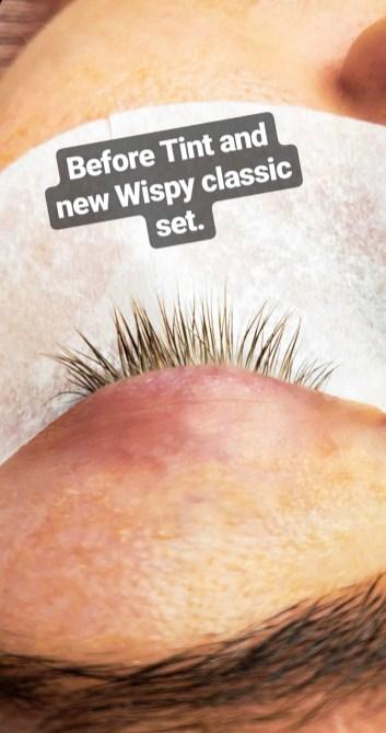 natural lashes pre tint & new set