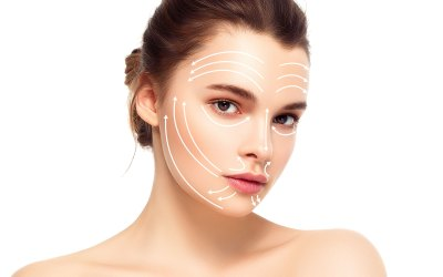woman with arrows on skin representing skin tightening ellemes medical spa atlanta