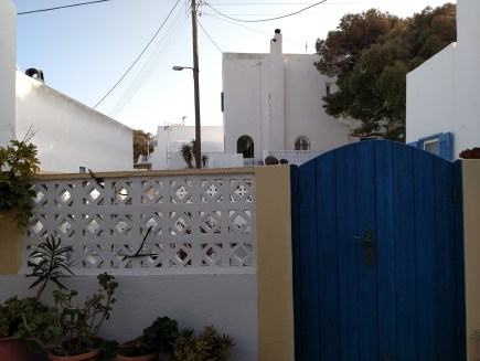 The backyard at our Airbnb in Fira