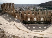 Odeon of Herodes Atticus, a stone theatre structure located on the southwest slope of the Acropolis of Athens