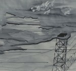 """Untitled, 2008, 10' x 24"""", ink on paper"""