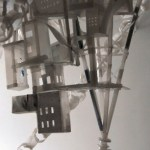 etail of improvised housing colony around satellite tower