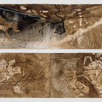 "Untitled, both drawings 60"" x 22"", walnut and sumi ink on paper, 2015"