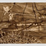 "Untitled, 60"" x 22"", walnut ink on paper, 2015"