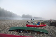 Canoes in the fog