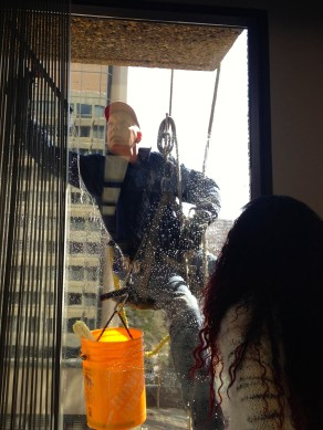 The window washer visits our class every spring and summer.