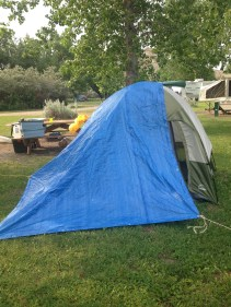 I tried to shelter my tent from the rain. I need to learn how to set up a tarp!