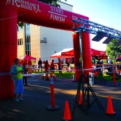 Starting line of the Canada Day race, a 15K and 5K running race.