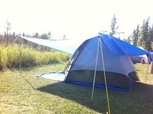 My tarp arrangement makes my tent very comfortable.
