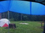 Rain drips off the tent in the morning